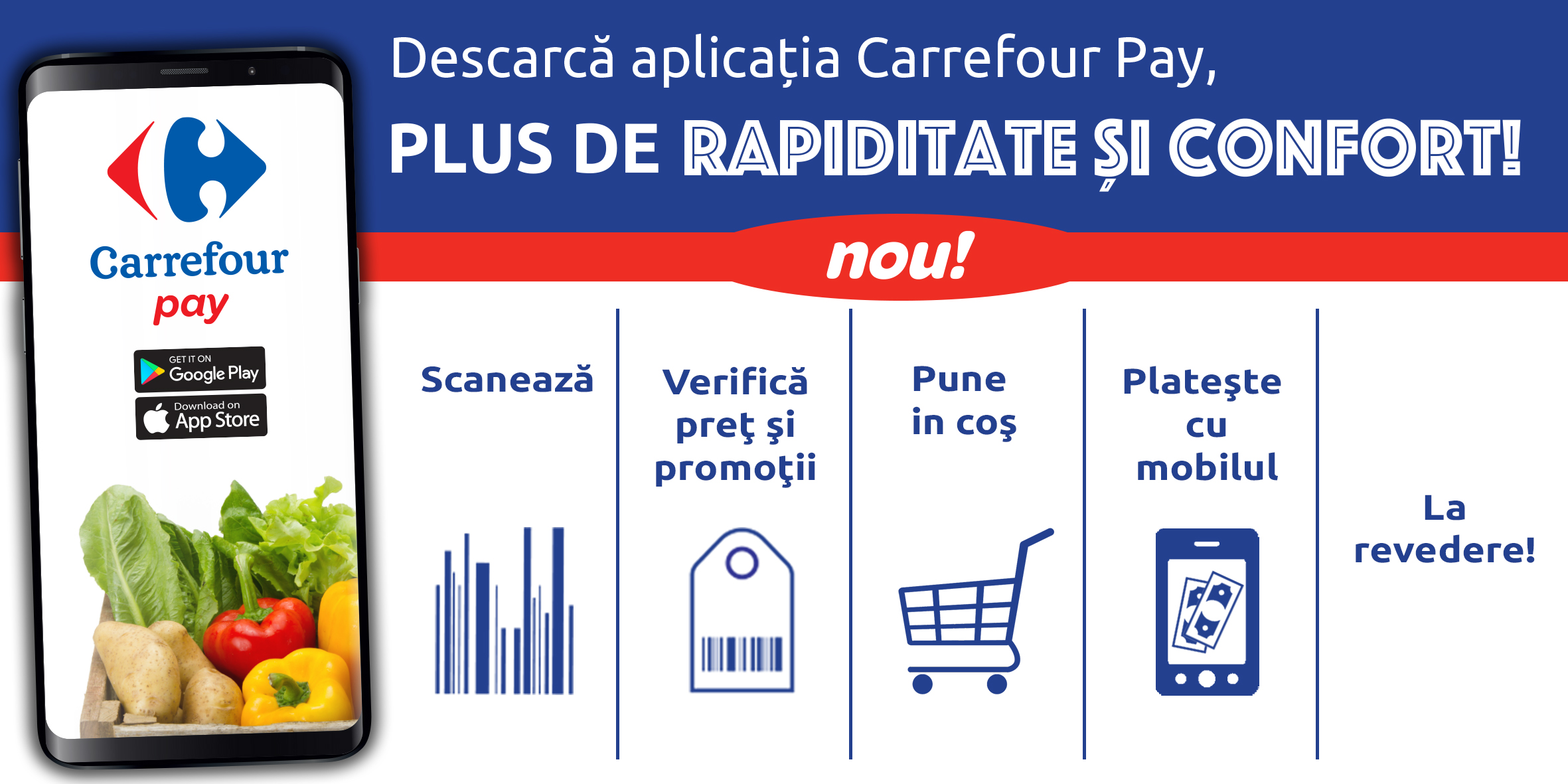 Descarca aplicatia Carrefour Pay, plus de rapiditate si confort!