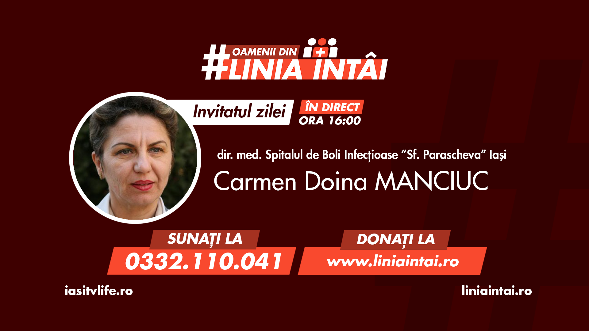 Oamenii din #LiniaÎntâi | director medical CARMEN DOINA MANCIUC